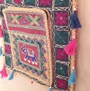 Yellow Boho Elephant Embroidered Tassle Bag Tote